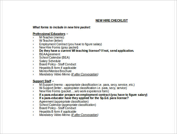 22+ New Hire Checklist Templates Free PDF, Word, Excel Formats