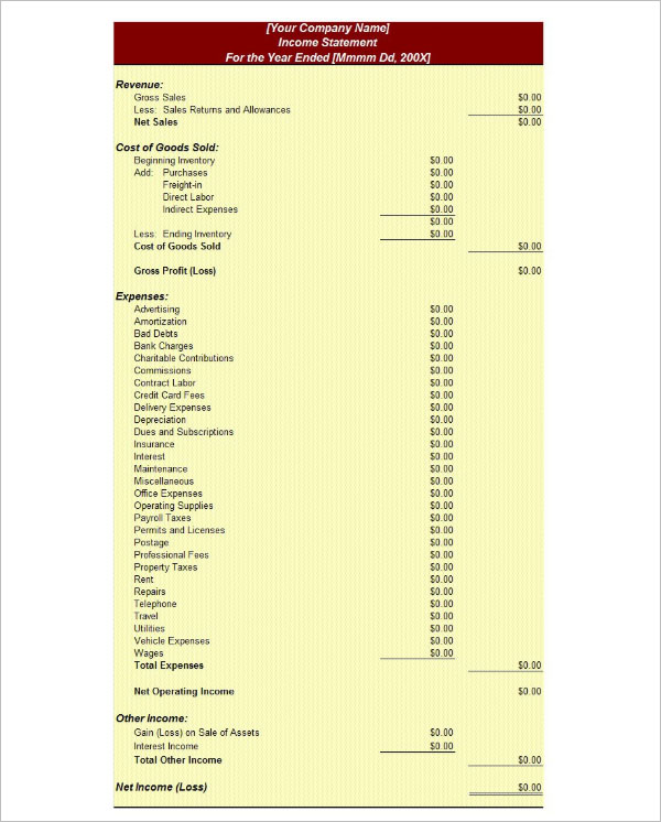 36+ Income Statement Templates Free PDF, Excel, Word, XLS Formats