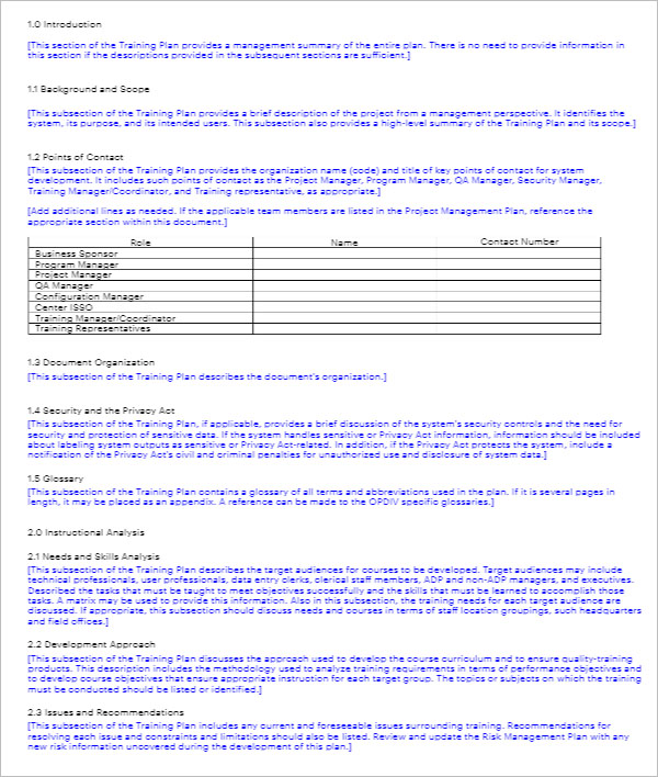 End User Training Plan Template Gallery - Template Design Ideas - end user documentation template