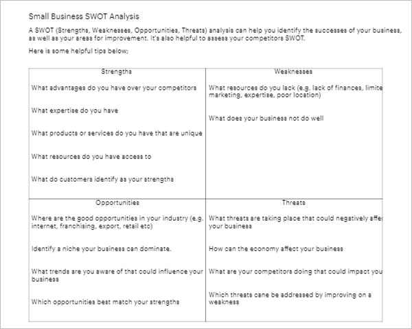 Business Swot Analysis Template Image collections - Business Cards Ideas - swot ysis template doc
