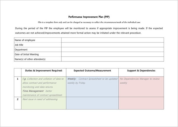 42+ Performance Improvement Plan Templates Free Word, XLS Formats