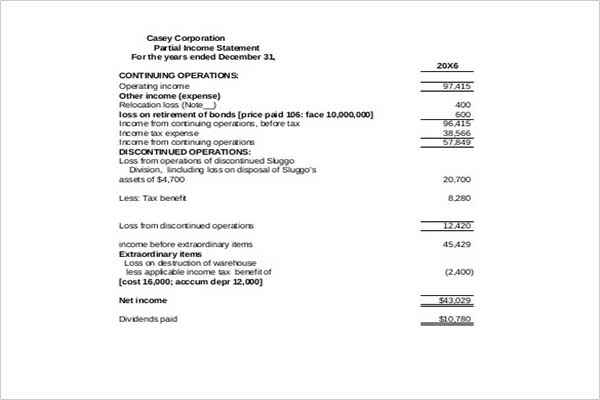 Monthly Income Statement Template - Free Word, Excel, PDF Download