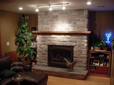 Basement Stone Fireplace Tile Contractor Creative Tile