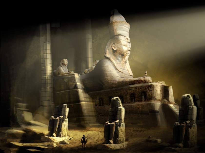 Raiders 3d Wallpaper Egypt Sphinx Characters Amp Art Lara Croft Tomb Raider