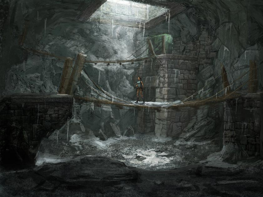 Dark Knight Falls Wallpaper Peru Mountain Caves Bridge Art Lara Croft Tomb Raider