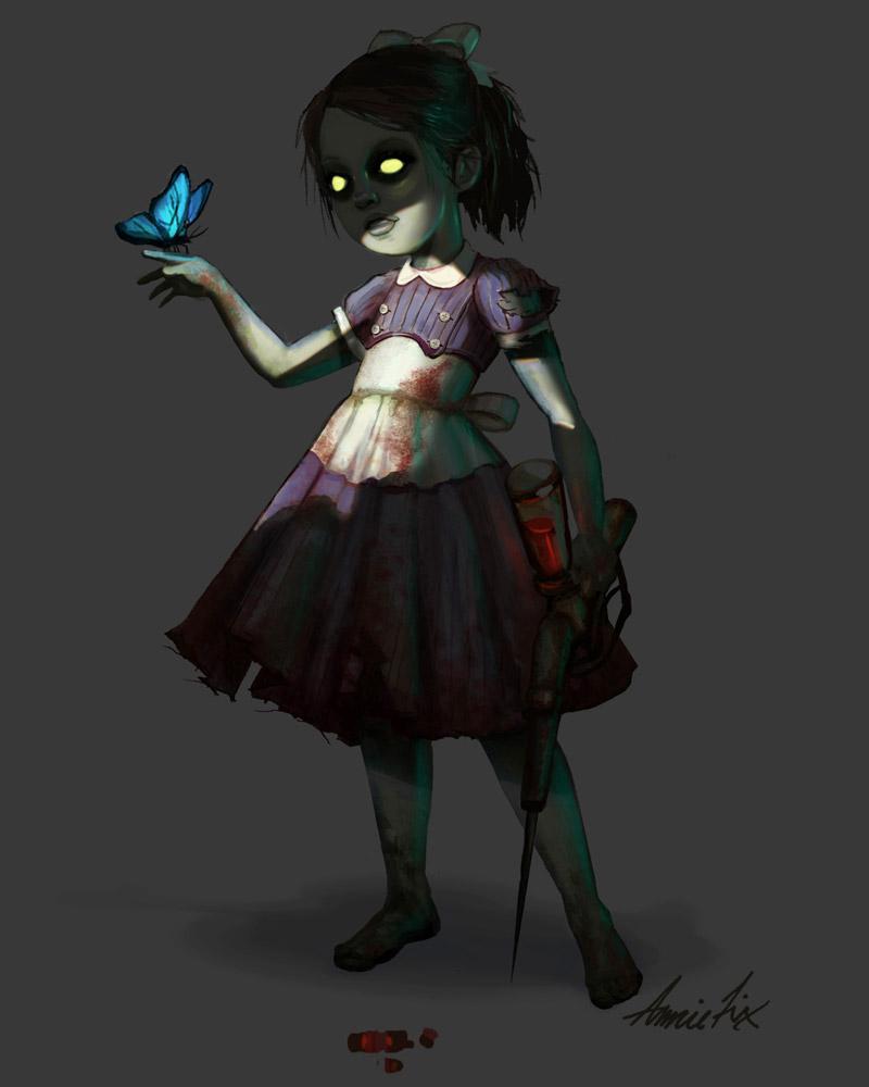 Wallpaper Of Cartoon Cute Girl Little Sister Characters Amp Art Bioshock 2