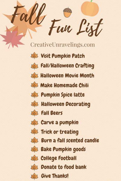 FREE PRINTABLE Fall Fun List Creative Unravelings
