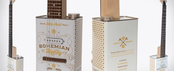 Recycled Bohemian Electric Oil Can Guitars