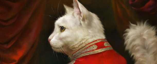 Portraits of cats dressed as royalty