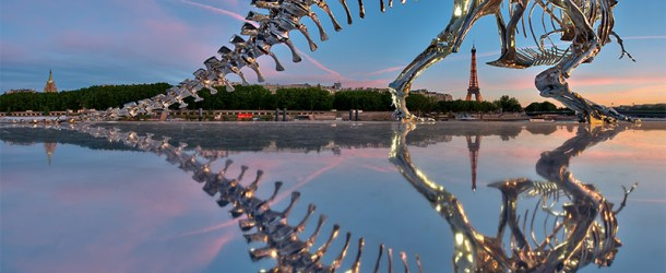 Life-Size Chrome T-Rex Dinosaur Skeleton installed in Paris