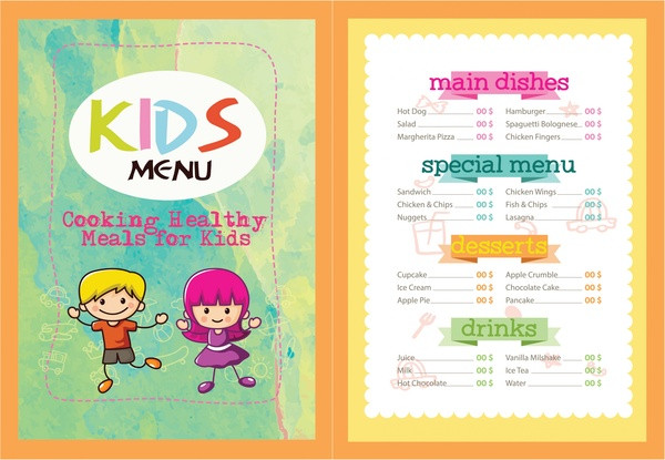 Printable Kids Menu Template - 27+ Free  Premium Download