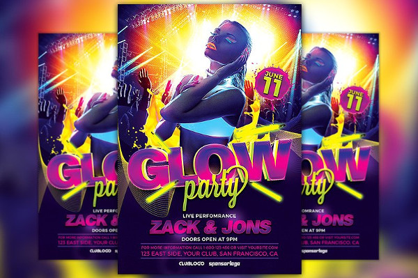 23+ Glow Party Flyer Templates - Free  Premium Download - party brochure template