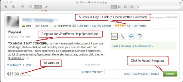 How to win more bids or choose a provider on Elance, Guru and other - freelance proposal template