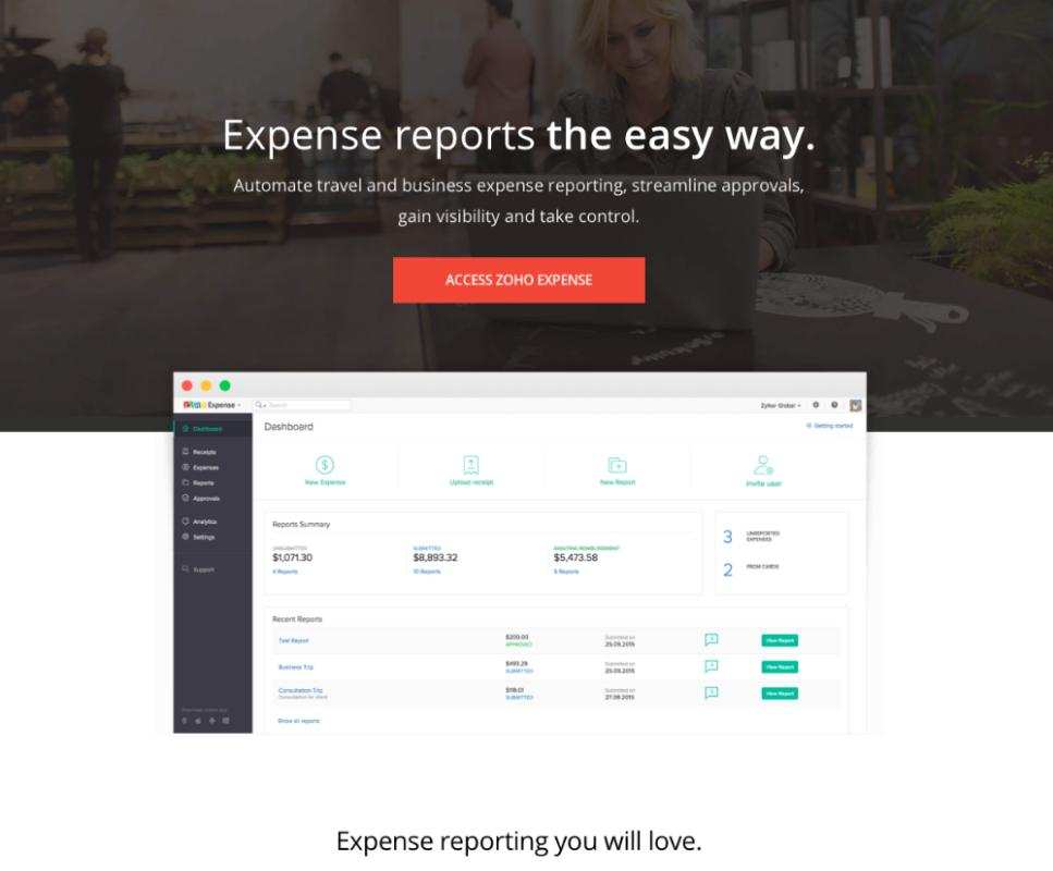Online Expense Report Expense Reports Software Zoho Expense