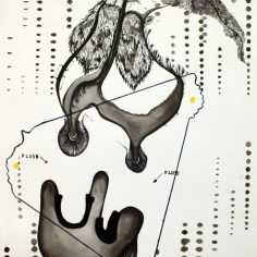 """Ink and Flocking on Paper. 15"""" x 10"""" 2013."""