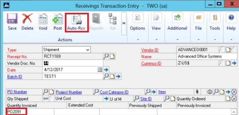 Entering a Blanket Purchase Order in Dynamics GP - Crestwood Associates