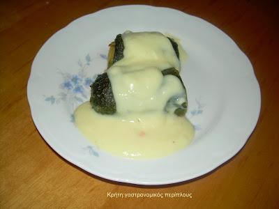 Κολοκυθάκια γεμιστά με κιμά και σάλτσα αυγολέμονο