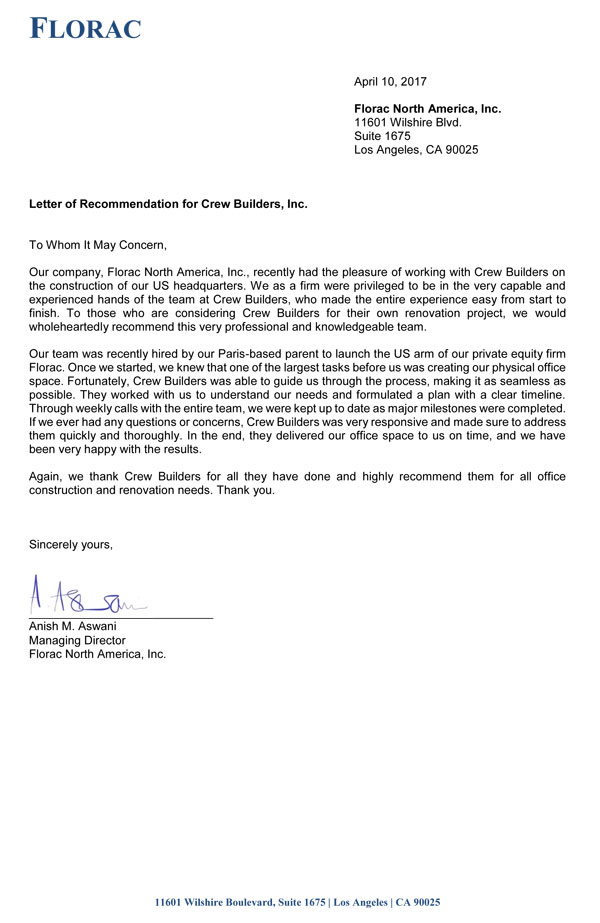 Letters of Recommendation - Crew Builders, Inc - Commercial