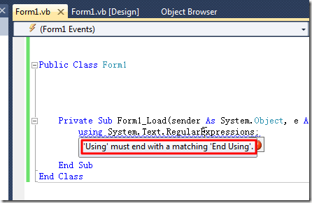 using must end with a matching End using