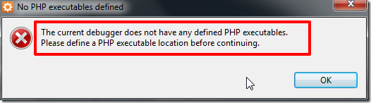 No PHP executables defined
