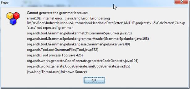 cannot generate the grammar because class not expected grammar