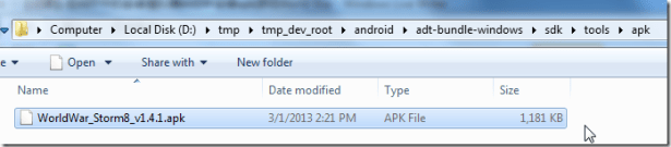 copied apk to folder