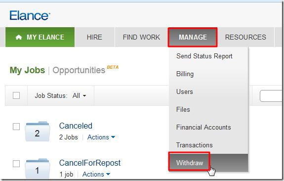 elance manage withdraw