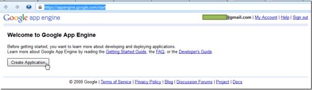 create application gae