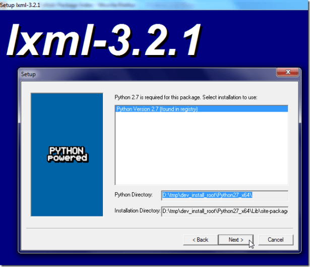 install lxml for python 2.7 x64