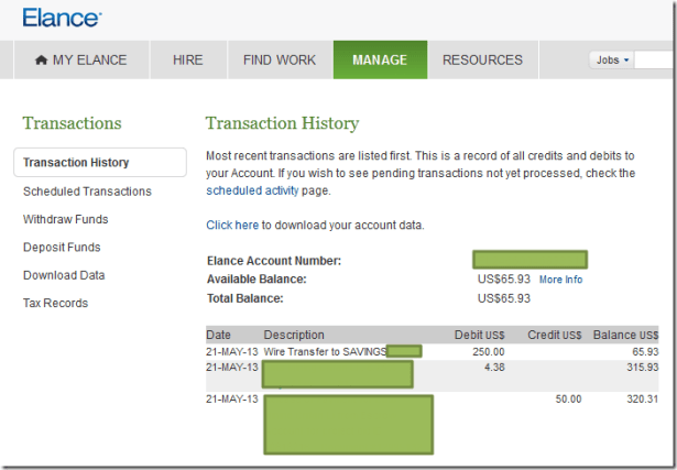 manage transaction history show wire transfer to saving