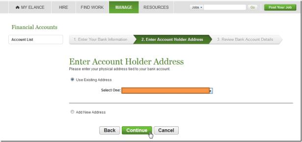 use existing address