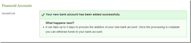 your new bank account has been added successfully