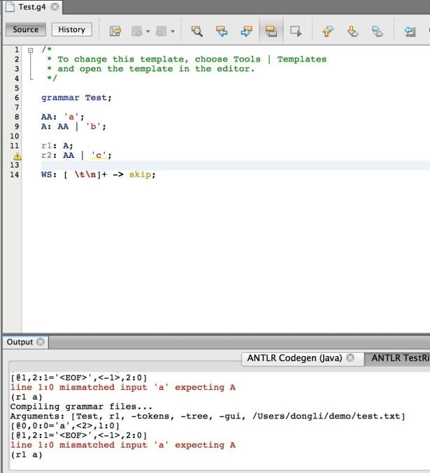 mac antlrworks 2.0 run test same error