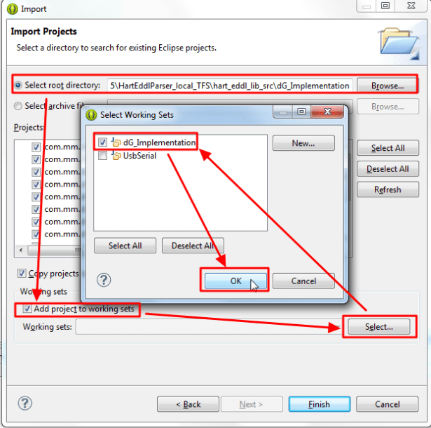 select root directory add project to working sets select