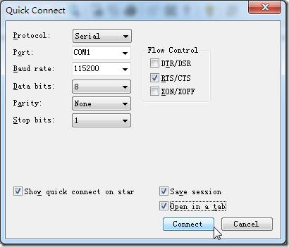 set to serial com1 8n1 115200