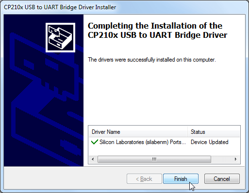 completing the installation of the cp210x usb to uart bridge driver