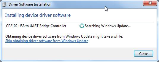 cp2102 usb to uart bridge controller searching windows update
