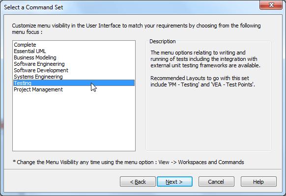 ea select a command set testing
