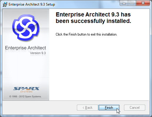 enterprise architect 9.3 has been successfully installed