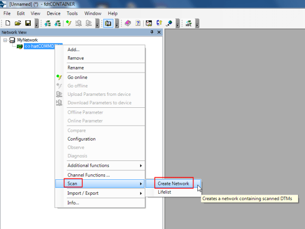 then for hartCOMMDTM scan create network