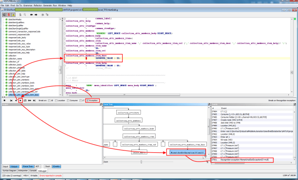 when exception happen then double click can jump to error location