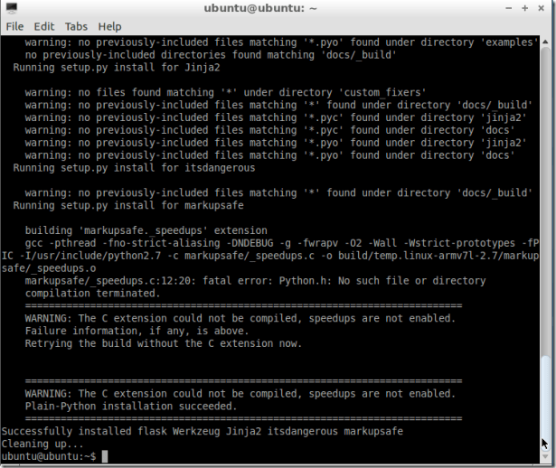 sudo pip install flask running setup.py and complete