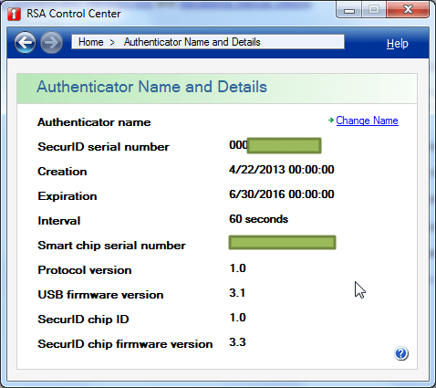 Name and Detail show authenticator name and details