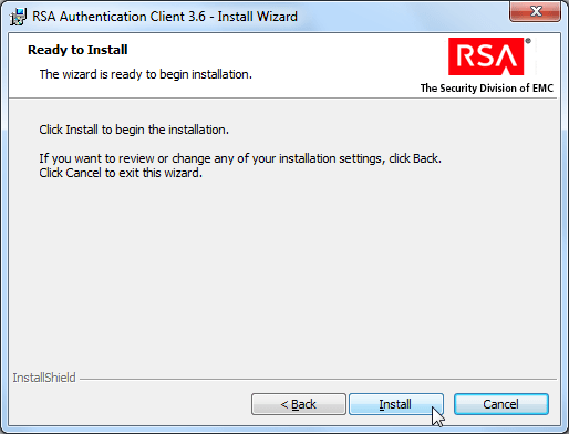 RSA authentication client 3.6 install wizard ready to install