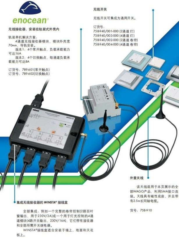 enocean of wago install on din rail wireless switch