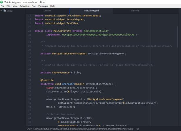 atom opened some java file