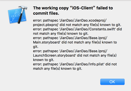 the working copy failed to commit files