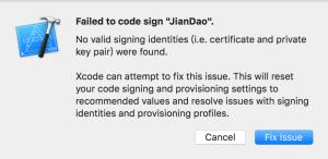 Failed to code sign JianDao No valid signing identities