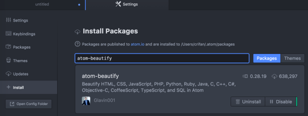 atom-beautify installed show ok