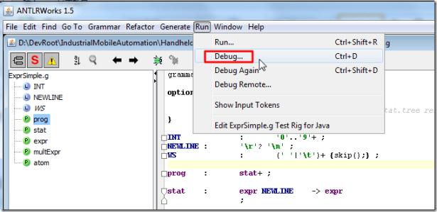 antlrworks run debug